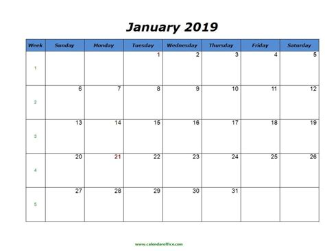 january calendar printable format templates calendar
