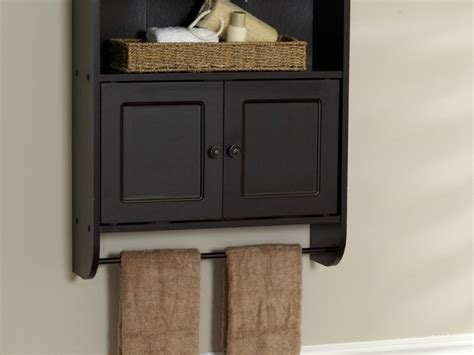 Black Wooden Bathroom Wall Cabinet With Simple Knobs And
