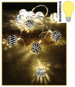 Led Lichterkette Kugeln : led lichterkette mit 10 kugeln wei warmwei batteriebetrieb weihnachtsdeko kaufen bei ~ Frokenaadalensverden.com Haus und Dekorationen