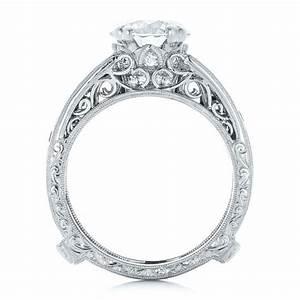 custom diamond and blue sapphire interlocking engagement ring With interlocking wedding rings