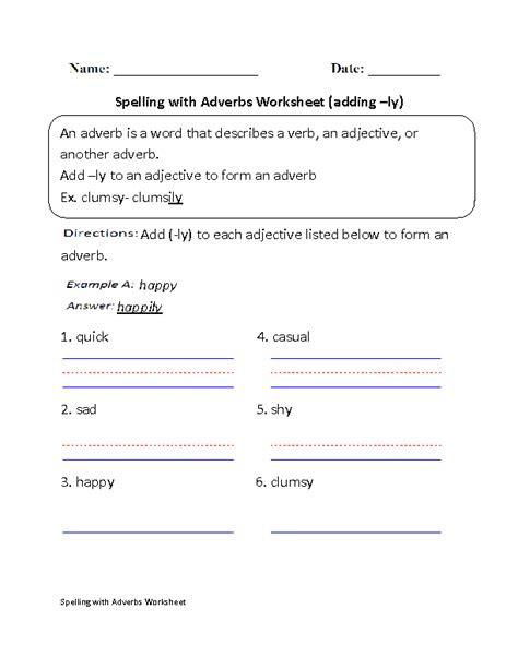 adverbs worksheets spelling  adverbs worksheets