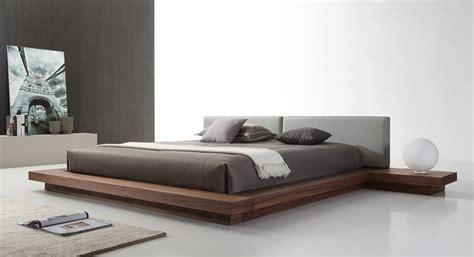 modrest opal modern walnut grey platform bed