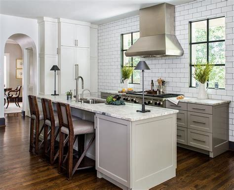 Kitchen Backsplash No Cabinets by Gray Kitchen Cabinets With Satin Nickel Cup Pulls
