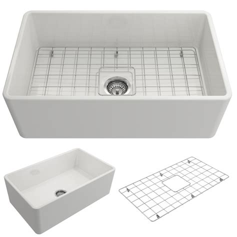 farmhouse kitchen sink white bocchi classico farmhouse apron front fireclay 30 in 7158