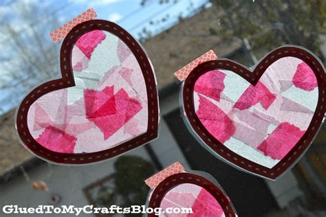 stained glass hearts  printable kid craft