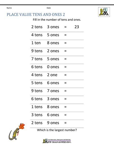 Math Place Value Worksheets 2 Digit Numbers