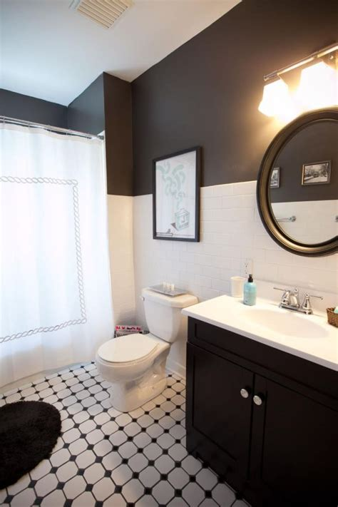 black white and silver bathroom ideas two toned walls that work colorblocking inspiration