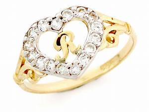 10k 14k gold heart shape letter 39r39 initial cz ring With 10k gold letter rings