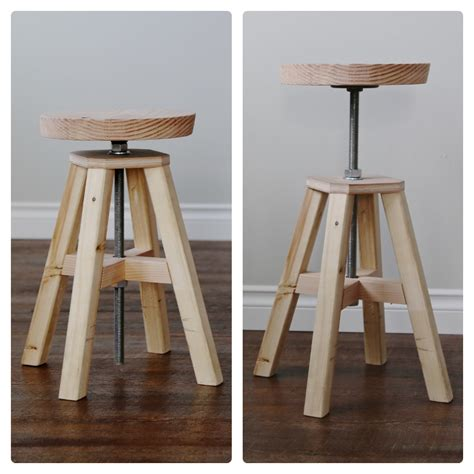 ana white adjustable height wood  metal stool diy projects
