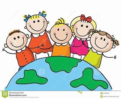 Clipart Bambini Mondo Stockbild Drawing Kinder Welt
