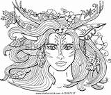 Coloring Pages Adults Vector Nature Fantasy Spring Ornament Spirit Deer Forest Antlers Royalty sketch template