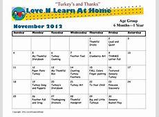 November Infant Curriculum Calendar! Books Worth Reading