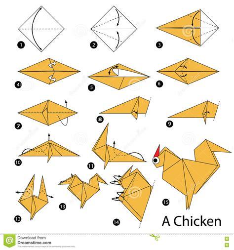comment faire un origami 233 par 233 comment faire 224 origami un poulet illustration de vecteur image