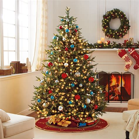 lucky colors christmas decor 6 9 color changing pre lit hinged fraser tree at brookstone