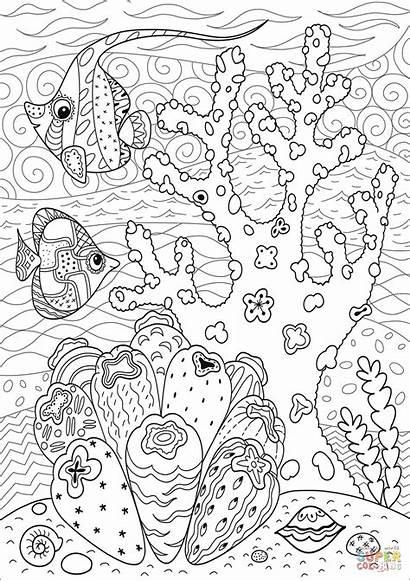 Reef Coral Coloring Pages Printable Enjoying Fish