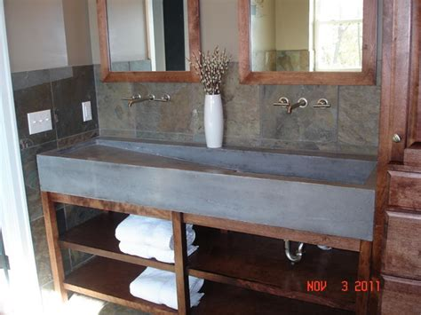 Custom Concrete Trough Sink-contemporary-bathroom