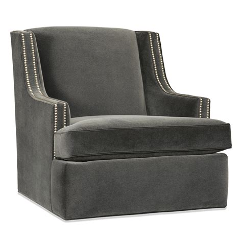 contemporary swivel glider with slender track arms