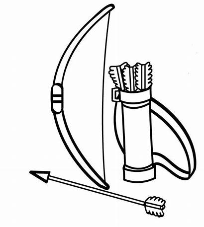 Coloring Pages Bow Arrow Drawing Clipart Leaves