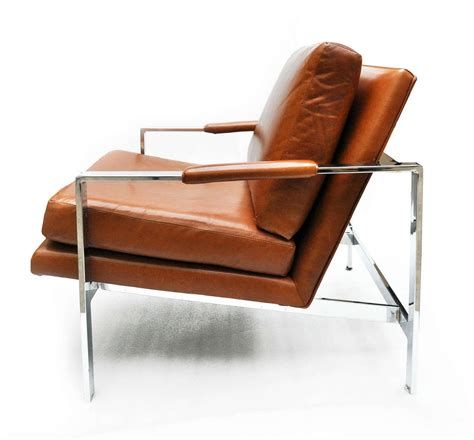 milo baughman leather and chrome chair at 1stdibs