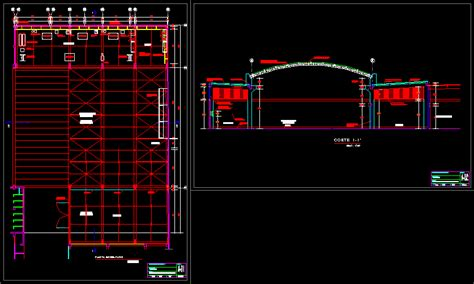 warehouse metal roof structure design study dwg full project  autocad designs cad