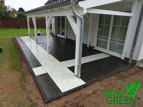 platten legen terrasse terrasse vordach pflasterarbeiten platten legen muster 01 ideal green