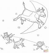 Diddle Hey Coloring Nursery Pages Rhyme Printable Fiddle Moon Cat Cow Rhymes Goose Mother Jumped Moo Clack Supercoloring Crafts Jumping sketch template