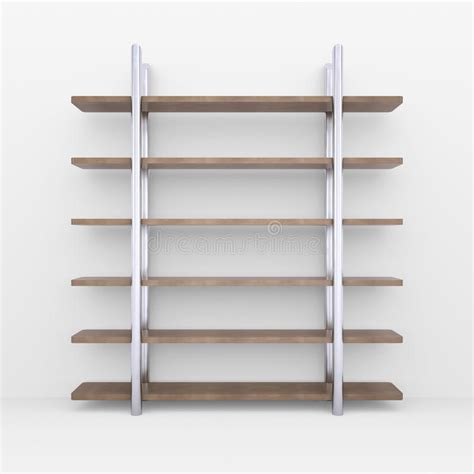 scaffali di legno scaffali di legno con i supporti metallo illustrazione