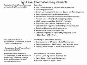 application support requirements processes With high level business requirements document template