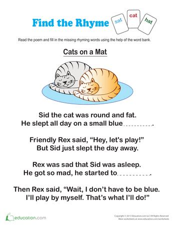 find words that rhyme worksheets reading homework and