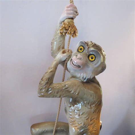 capodimonte glazed ceramic hanging monkey lamp  stdibs