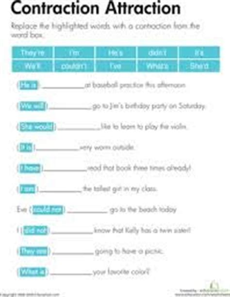 english images teaching contraction worksheet
