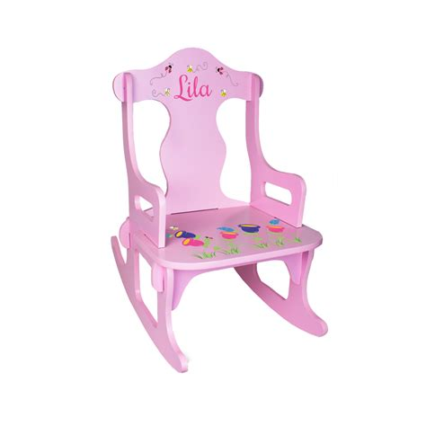 personalized childrens rocking chairs personalized rocking chair custom pink by wizkickgifts