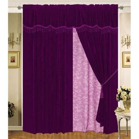 velvet purple plum curtain set w valance