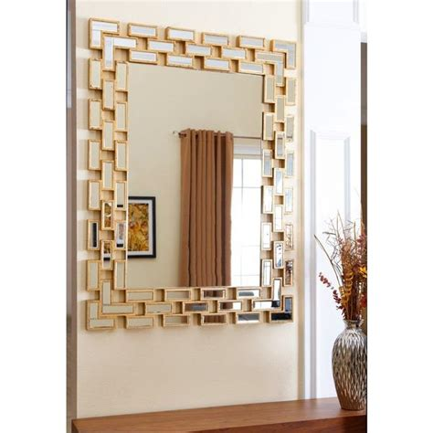 abbyson living alexis rectangle wall mirror  gold