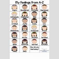 Az Feelings Posters In Color And Black And White  Feelings, Word Walls And Student