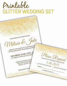 printable glitter invitation rsvp set only 10 for With wedding invitation printing only