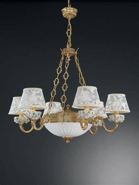 l shades chandelier 8 lights golden brass and painted porcelain chandelier