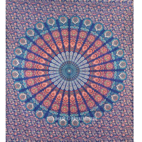 blue multi plum  blow medallion wall tapestry hippie