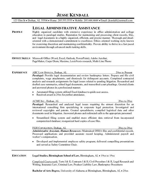 Paralegal Resume Template by Assistant Paralegal Resume Sle Gt Join 400 000