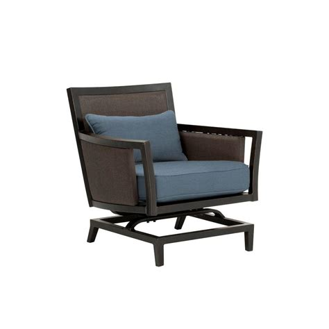 brown greystone patio motion lounge chair in denim