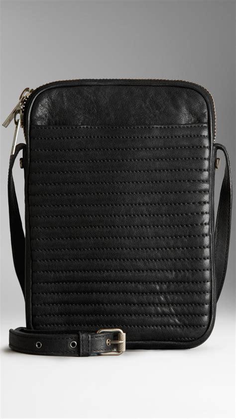 burberry buffalo leather ipad mini crossbody bag  black  men lyst