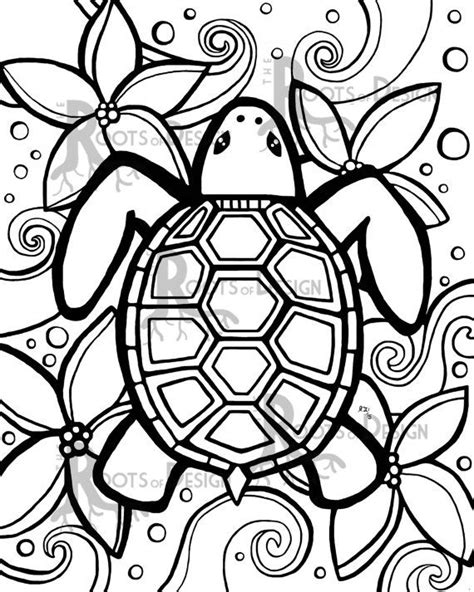 instant  coloring page simple turtle zentangle