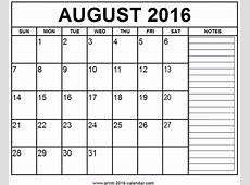 Printable August 2016 Calendar