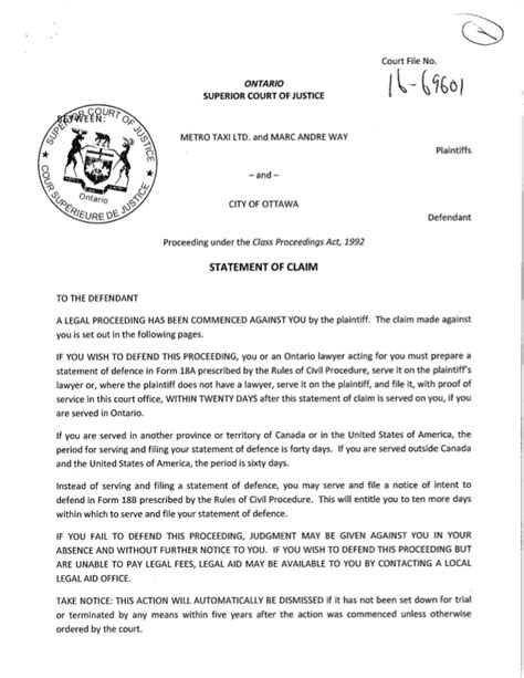 commercial court claim form n1cc 160812 statement of claim