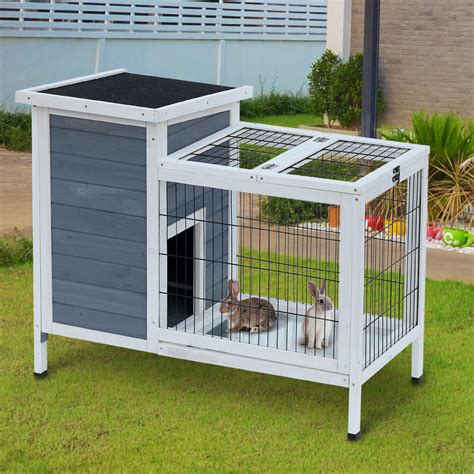 Indoor Wooden Rabbit Hutch - new rabbit hutch cage wooden bunny house removable tray