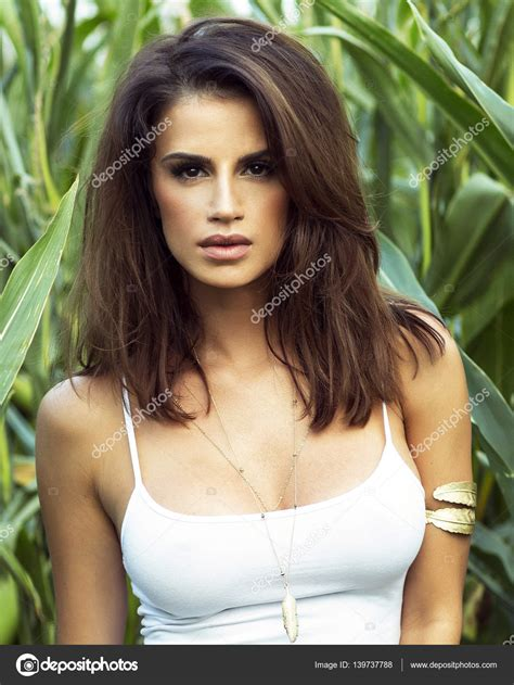 Sensual Brunette Lady Posing Outdoor Stock Photo
