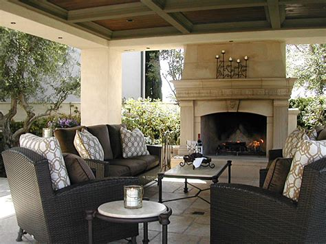 exterior fireplace and covered pavilion mediterranean