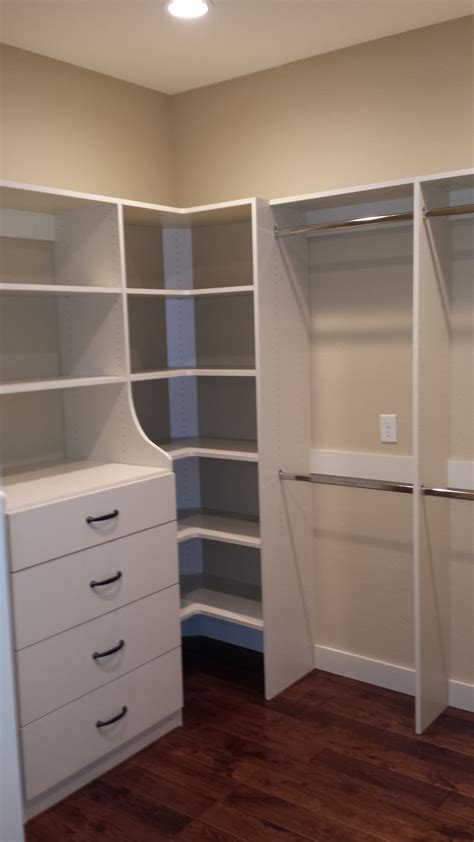White Wooden Corner Closet Shelves With Stainless Steel