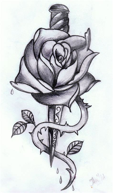 rose dagger tattoo drawing tattoo ideas
