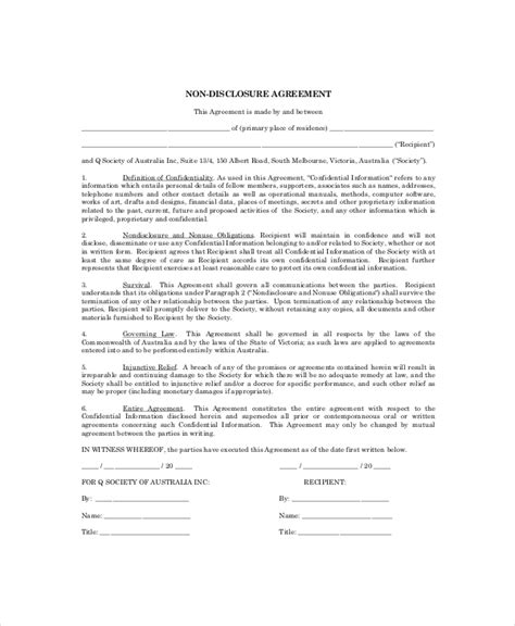 simple  disclosure agreement template business